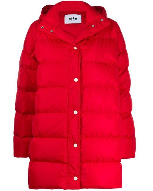 Пальто-пуховик MSGM, цвет: Red