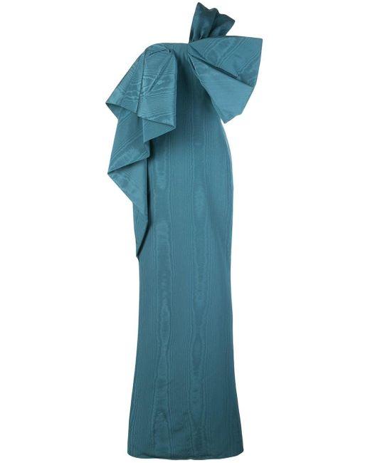 Oscar de la Renta ワンショルダー ドレス Blue