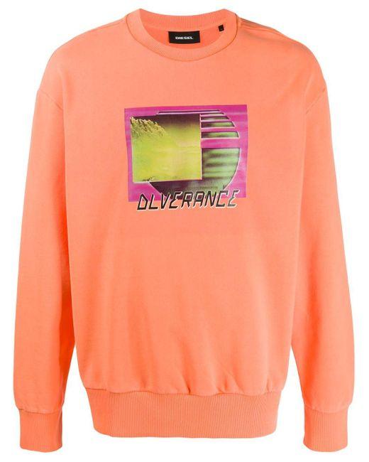 メンズ DIESEL グラフィック パーカー Orange