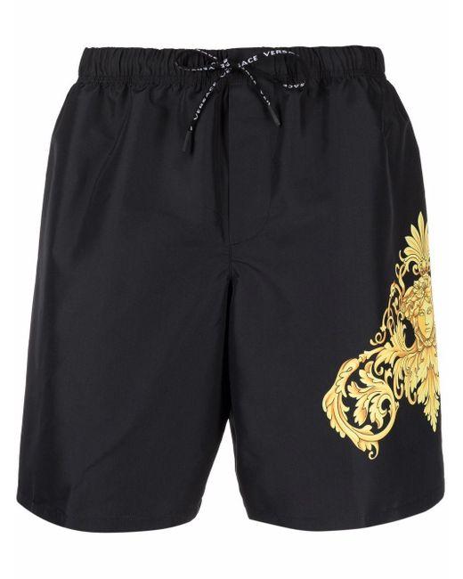Short de bain à imprimé baroque Versace pour homme en coloris Black