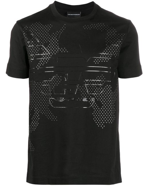 Футболка С Логотипом Из Заклепок Emporio Armani для него, цвет: Black