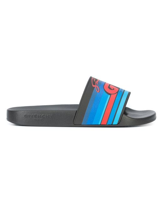 Givenchy - Black Motocross Logo Slides for Men - Lyst