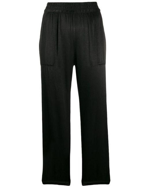 Raquel Allegra Pantalones Trapunto de mujer de color negro