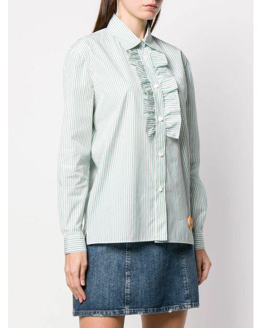 2bd7468056794d ... Miu Miu - Green Striped Ruffled-bib Shirt - Lyst ...