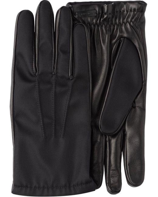 Gants bi-matière Prada pour homme en coloris Black