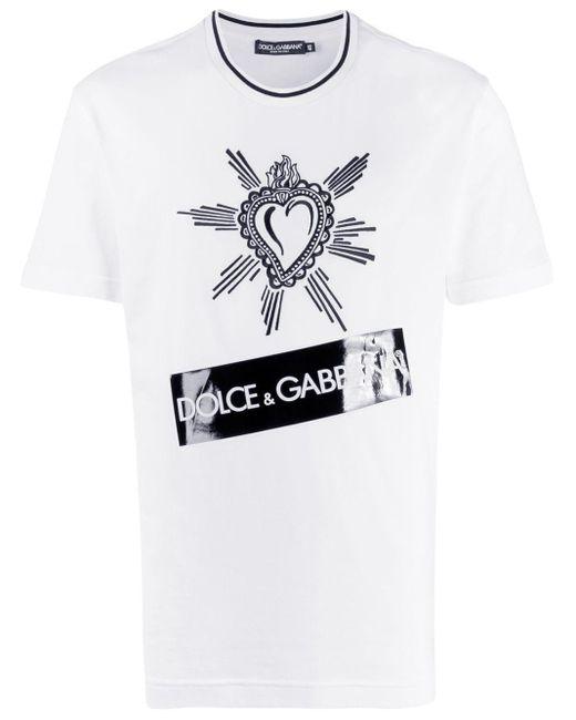 メンズ Dolce & Gabbana ハート Tシャツ White