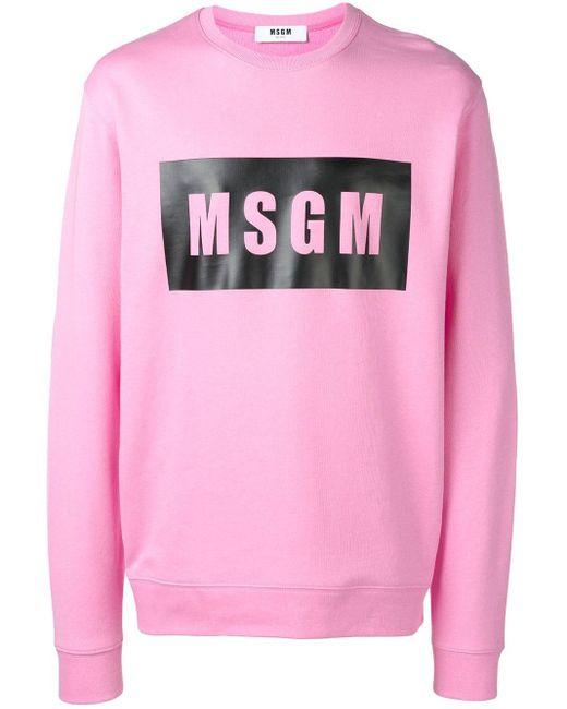 MSGM Trui Met Logo in het Pink voor heren