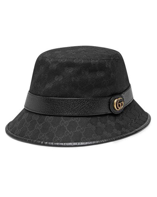 メンズ Gucci 【公式】 (グッチ)ダブルg付き GGキャンバス バケットハットブラック GGキャンバスブラック Black