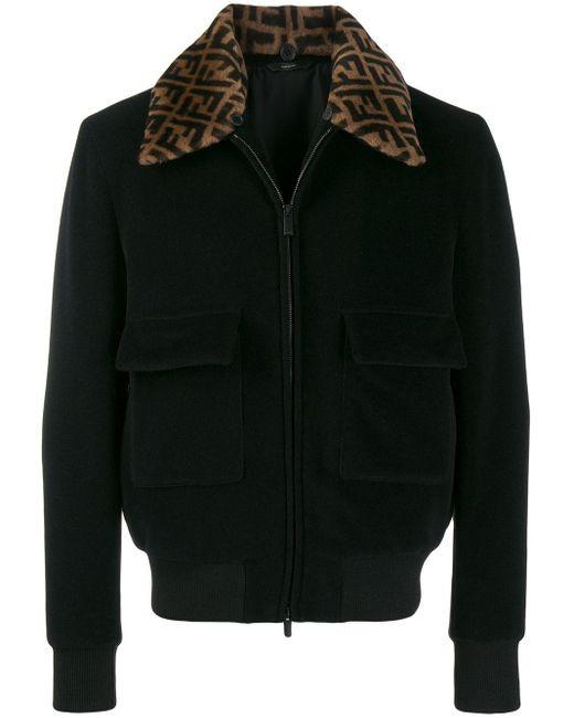 メンズ Fendi Logo Collar Bomber Jacket Black