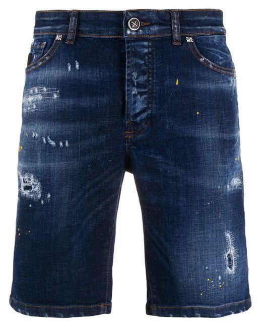 Shorts denim con effetto vissuto di John Richmond in Blue da Uomo