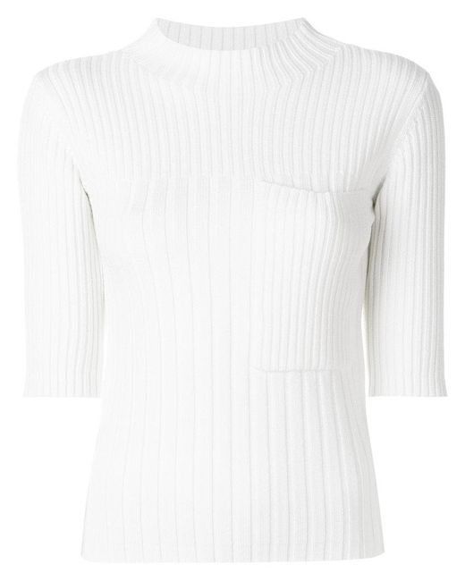 Joseph - White Ribbed Knit Top - Lyst