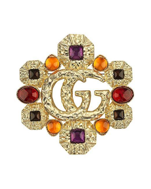 Gucci GG カボション ブローチ Multicolor