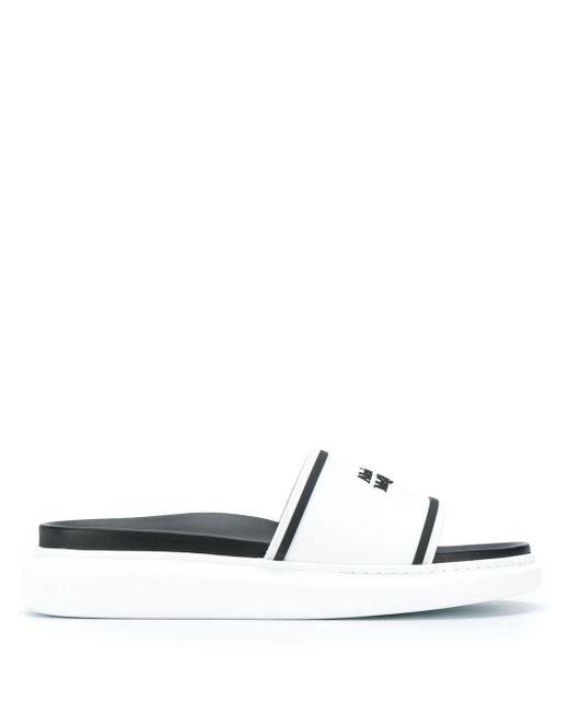 Slippers à logo imprimé Alexander McQueen pour homme en coloris Black