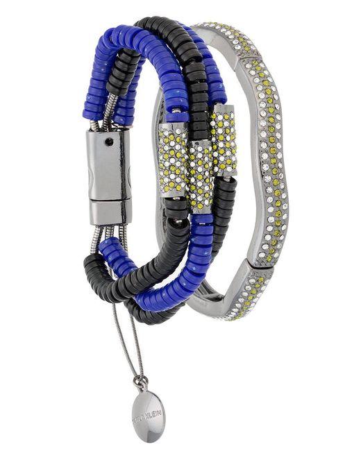 Camila Klein - Metallic Millipede Leather Trim Two-bracelet Set - Lyst