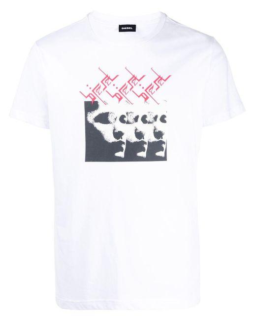 メンズ DIESEL グラフィック Tシャツ White