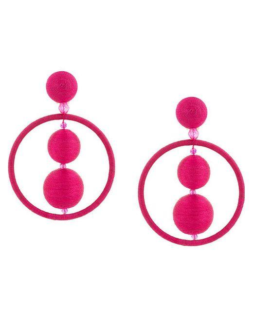 Oscar de la Renta - Pink Threaded Bead Hoop Earrings - Lyst