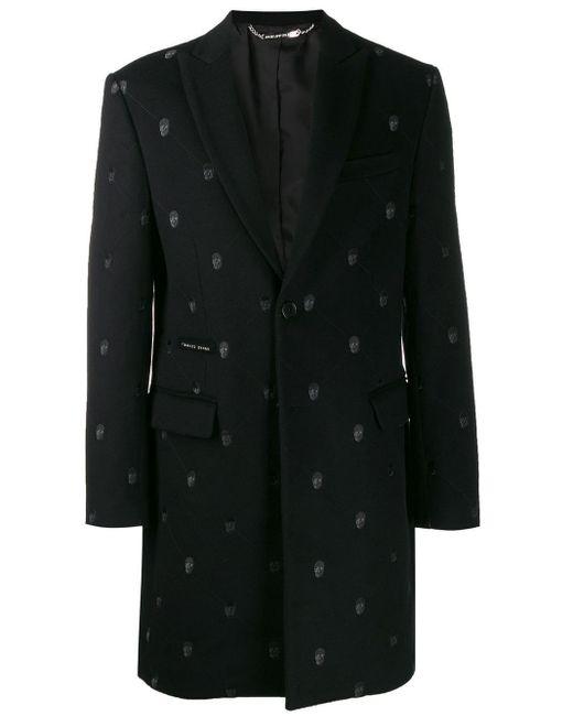 Пальто С Вышивкой Skull Philipp Plein для него, цвет: Black