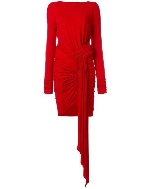 Vestido estilo jersey con diseño arrugado Alexandre Vauthier de color Red