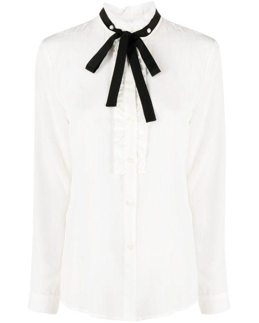 Liu Jo ラッフルトリム シルクシャツ White