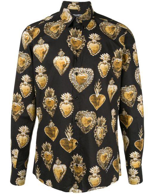 メンズ Dolce & Gabbana Sacred Heart シャツ Black