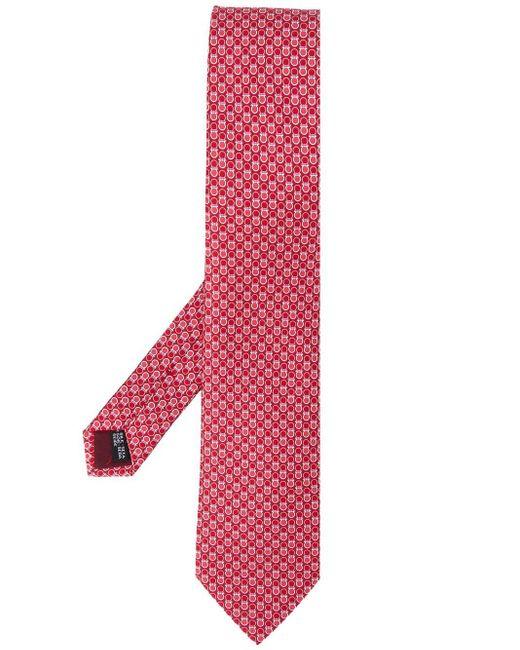 Cravate Gancini à motifs géométriques en soie Ferragamo pour homme en coloris Red