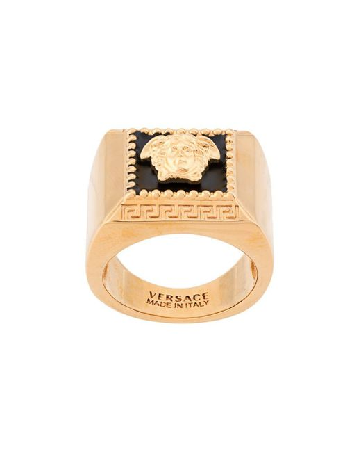 Versace Metallic Medusa Signet Ring for men