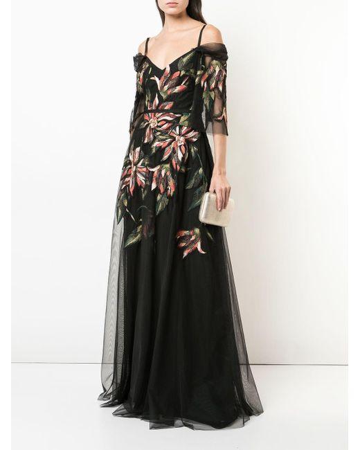 Marchesa notte エンブロイダリー イブニングドレス Black