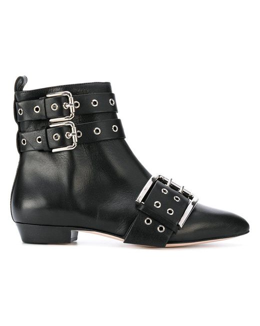 RED Valentino - Black Buckled Ankle Boots - Lyst