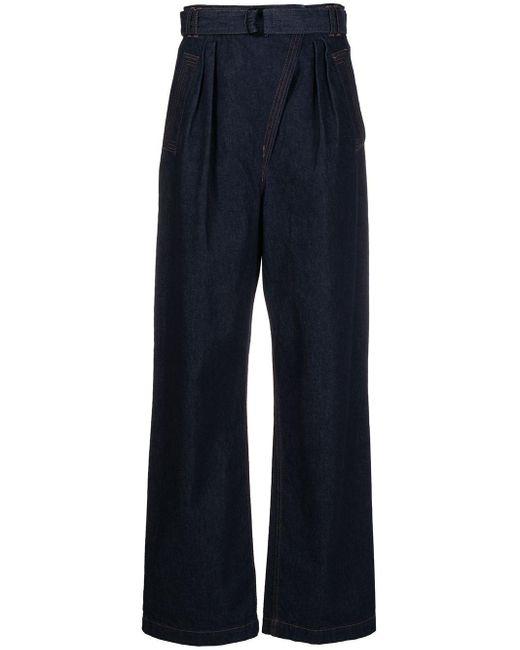 Christian Wijnants Blue Asymmetric Fly Wide-leg Jeans