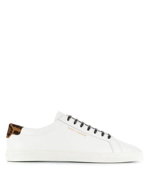 """Saint Laurent White """"andi"""" Sneaker With Animalier Detail for men"""