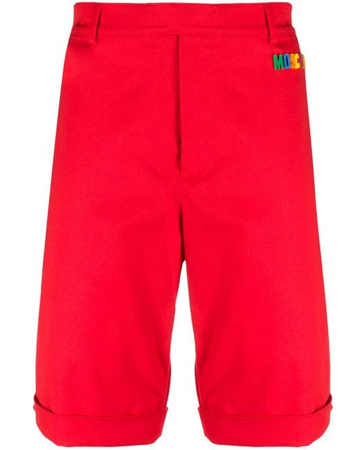 メンズ Moschino ロゴ バミューダショーツ Red