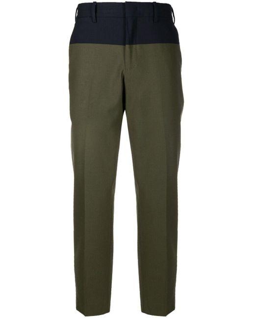 PT01 Green Two-tone Straight-leg Trousers for men