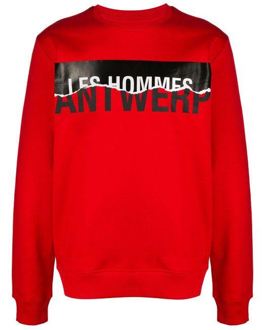 メンズ Les Hommes ロゴ プルオーバー Red