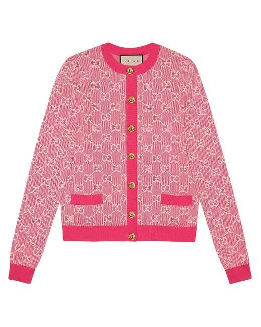 Cardigan en jacquard Gucci en coloris Pink