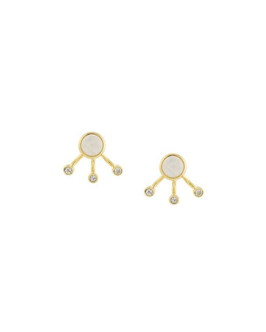 Pamela Love - Metallic Three Gravitation Moonstone And White Topaz Earrings - Lyst