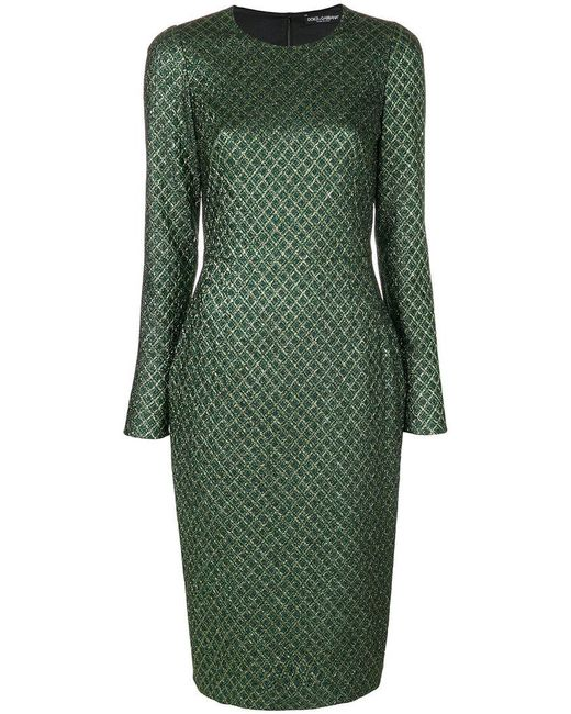 Dolce & Gabbana - Green Long-sleeved Diamond-jacquard Dress - Lyst