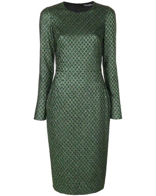 Dolce & Gabbana | Green Long-sleeved Diamond-jacquard Dress | Lyst