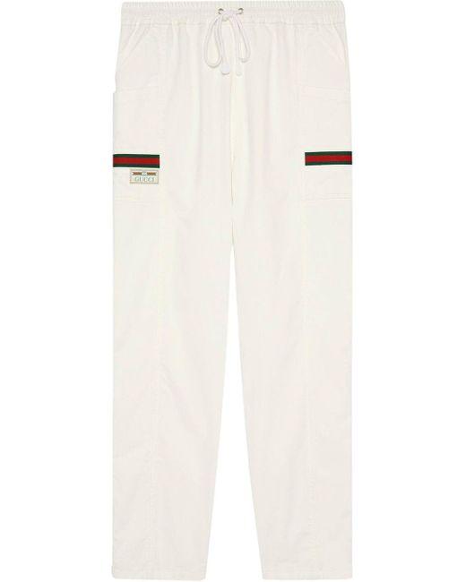 メンズ Gucci ロゴパッチ トラックパンツ White