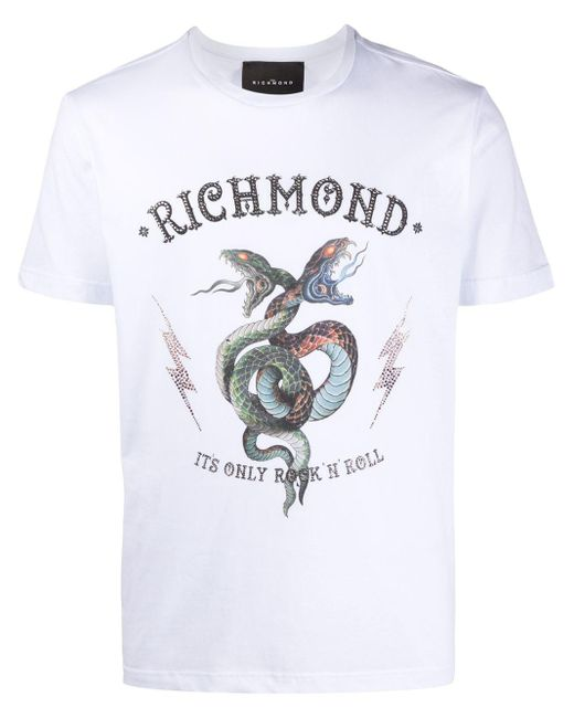 メンズ John Richmond プリント Tシャツ White