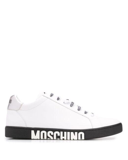 メンズ Moschino レザー スニーカー White