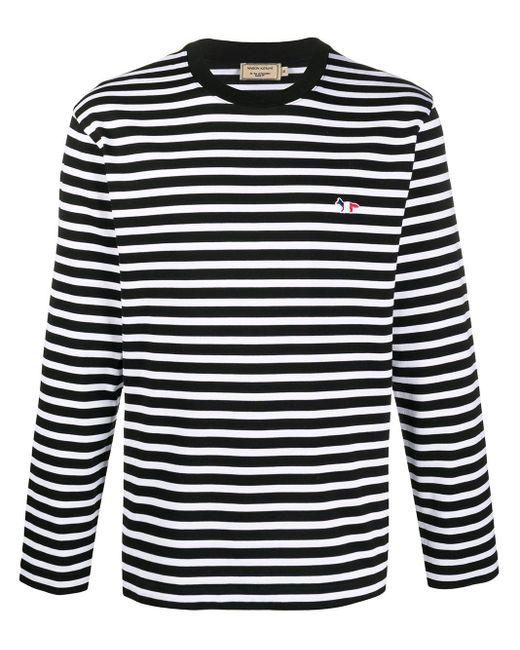 Maison Kitsuné ストライプ ロングtシャツ Black