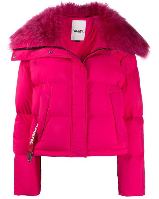 Yves Salomon ファートリム ダウンジャケット Pink