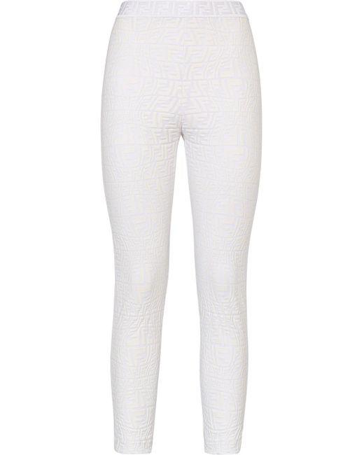 Легинсы С Завышенной Талией И Логотипом Ff Fendi, цвет: White