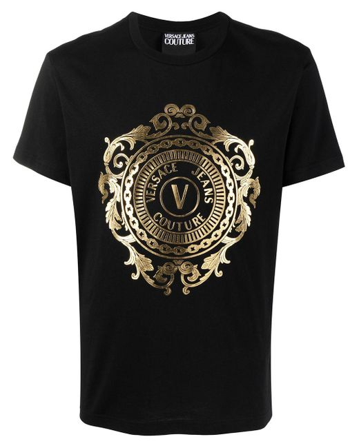Versace Jeans Black Logo Crew-neck T-shirt for men