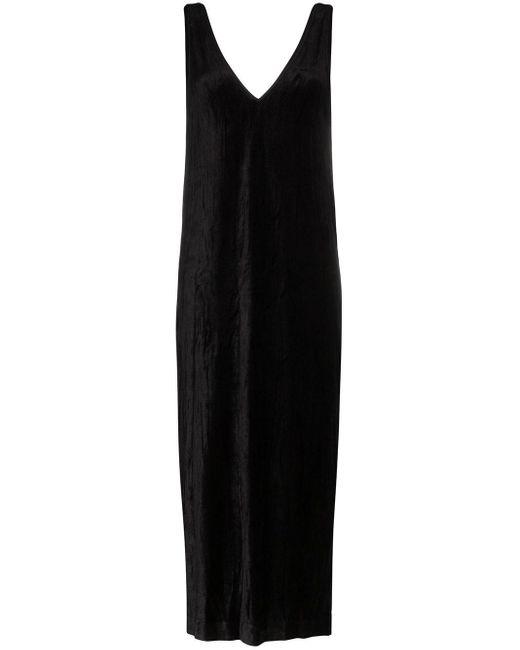 NINETY PERCENT ノースリーブ Vネックドレス Black