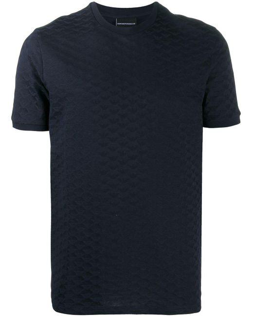 メンズ Emporio Armani エンボスロゴ Tシャツ Blue