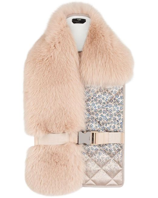 Fendi Pink Quilted Detailed Collar