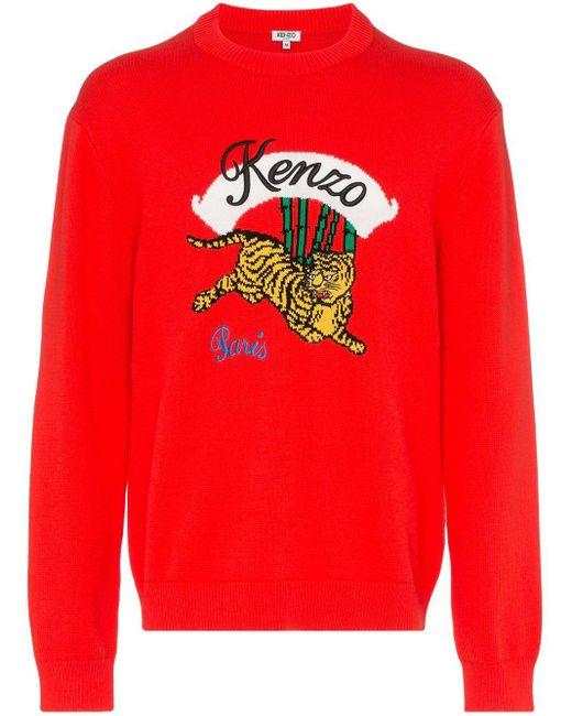 メンズ KENZO Jumping Tiger セーター Red