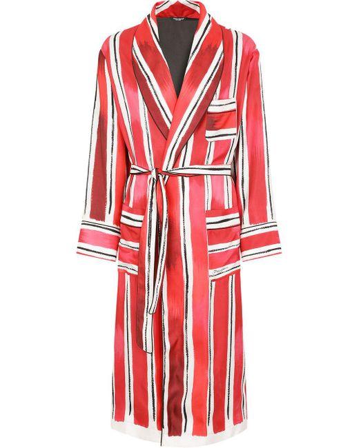 メンズ Dolce & Gabbana ストライプ ローブ Red