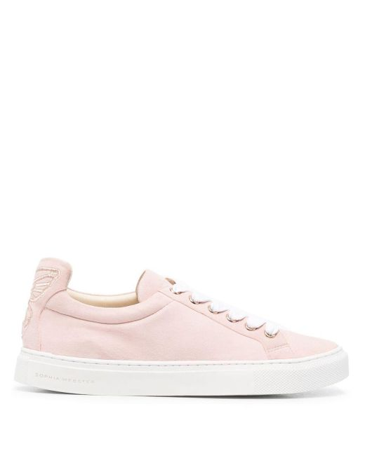 Sophia Webster Pink Butterfly Leather Trainers